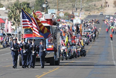 JC AMBERLYN/Miner<BR>The United States Air Force Honor Guard from Nellis Air Force Base leads the parade.