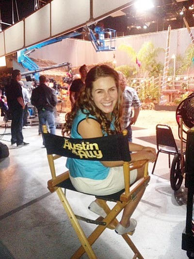 "Alexa Russo poses on the set of Disney's ""Austin & Ally,"" the show where she will make her Disney debut Sunday night. (Courtesy)"
