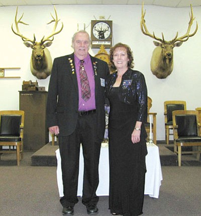 Courtesy<BR>From left are vice president of the north district, Ray Stock, and Kathy Taylor, Exalted Ruler, in the lodge meeting room prior to attending the dinner.