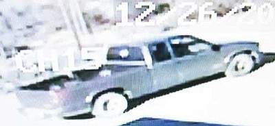 Courtesy photo<br>Mohave County Sheriff's Deputies are seeking the driver and passenger of this truck in connection with an armed robbery in Golden Valley Thursday