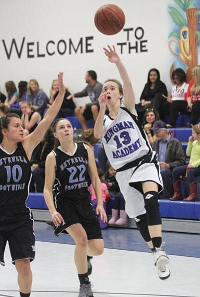 JC AMBERLYN/Miner<BR> Kingman Academy's Laura Harris puts up a shot during the Lady Tigers' 53-18 loss to Estrella Foothils Thursday at KAHS.