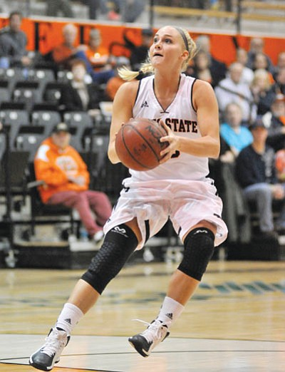 JULIE HILLEBRANT/ISU Athletics<BR> Idaho State's Lindsey Reed, shown here against Carroll College in Pocatello, Idaho, earlier this season, scored a career-high 34 points in Thursday's 75-65 win over Montana State.