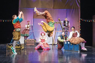 A scene from the Utah Shakespeare Festival's 2014 Shakespeare-in-the-Schools production shows the high energy level of The Taming of the Shrew. (Karl Hugh/Utah Shakespeare Festival)