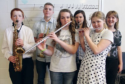 JC AMBERLYN/Miner<BR> Band and choir students at White Cliffs Middle School will be attending the Northern Arizona Middle School Regional Honor Band, Orchestra and Choir Festival in May. They are, from left, Ethan Kessler, Parker Taylor, Melissa Thornton, Taylor Cook, Bryanna Camacho and Ireland Quick.