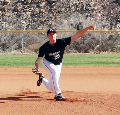 SHAWN BYRNE/Miner<BR> Tiger hurler Tarik Skubal throws a pitch in the first inning of Kingman Academy's 4-3 win over Wickenburg Friday at Southside Park. Skubal pitched six quality innings to earn the win.