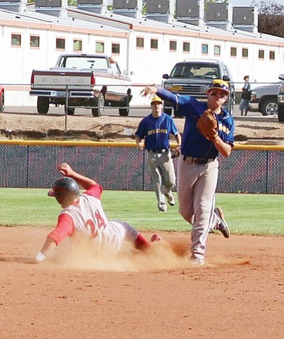 SHAWN BYRNE/Miner<BR> Lukas Butler makes the throw from second base that completed a double play for Kingman during the Bulldogs' 7-0 loss to Mingus Tuesday at KHS.