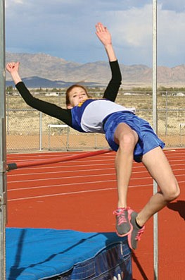 SHAWN BYRNE/Miner<br /><br /><!-- 1upcrlf2 -->Megan Gaul successfully clears the bar at the Kingman High Multi April 2 for the Lady Bulldogs. Gaul is just two inches from the No. 23 spot in Division II after clearing 4 feet, 8 inches in Lake Havasu Wednesday.