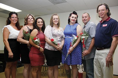 Courtesy<BR>MCC awarded five surgical technology students their pins during a ceremony on May 15. Pictured left to right are: MCC Instructor Michelle Schmidt, Cari Horne, Shylane Hernandez, Sarah Farrand, Crystal Dean, Aaron Blundell and Surgical Technology Program director Dr. Robert Goodrich.