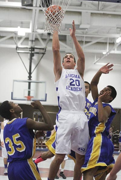 JC AMBERLYN/Miner<BR> Kingman Academy senior Lance Martin puts up a shot against San Pasqual Valley Dec. 20 at KAHS. Martin has signed to play for Cornerstone University, an NAIA Division II college in Grand Rapids, Mich.
