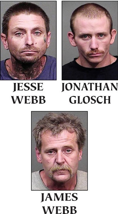 Jesse Clayton Webb, 36, Jonathan William Glosch, 25, and 51-year-old James Patrick Webb were taken into custody. (MCSO/Courtesy)