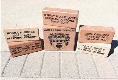 The Kingman Area Chamber of Commerce beautification committee is selling decorative bricks that will be placed in the Route 66 right of way as a fundraising effort to pay for selected cleanup projects.  (Courtesy)