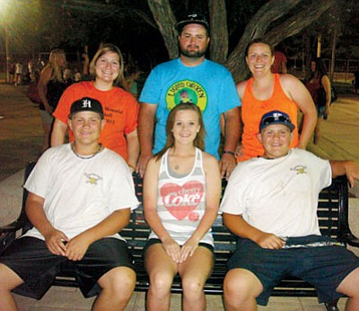 Courtesy<BR> John Bathauer's children got together for this photo at Saturday's John Bathauer Memorial Softball Tournament at Centennial Park. Back row, left to right, Jessica (Bathauer) York, Joshua Bathauer, Jennifer (Bathauer) Stout. Front row: left to right, Matt Bathauer, Lexi Bathauer, Mike Bathauer.