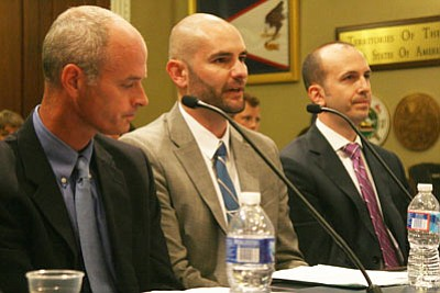 "Eric Fitzer, center, of the Governor's Office of Energy Policy, told a House committee that a bill opening public land to renewable energy development could make Arizona the ""solar capital of the world"" if the state could take advantage of available land. (Matthew Seeman/Cronkite News)"