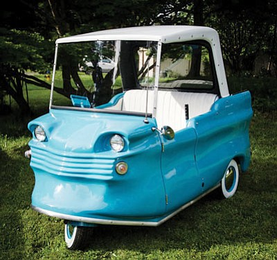 This electric car owned by Roderick Wilde, executive director of the Historic Electric Vehicle Foundation, is part of an extensive collection of U.S.-made electric micro cars that were manufactured between the mid 1940s and the mid 1960s. (Courtesy)
