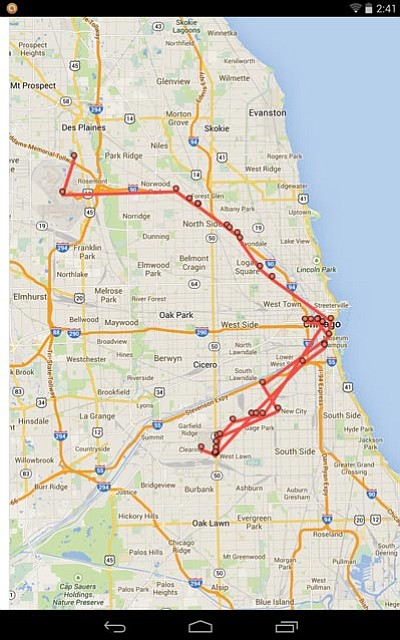 This screenshot shows my location tracking from a trip to Chicago. You can see where I landed at Chicago O'Hare (top), traveled around the city and picked up some friends at Chicago Midway (bottom).