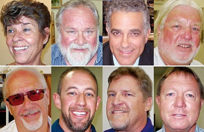 Top row, left to right: <BR>Jean Bishop, Bob Boyd, Al DiCicco, Jack Ehrhardt<BR><BR> Bottom row, left to right: <BR>Bill Keller, Travis Lingenfelter, Jack Pozenel, Ted Roper