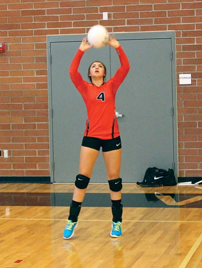 SHAWN BYRNE/Miner<BR> Lee Williams junior Marli Lauck sets the ball during the Lady Vols' Aug. 26 practice. Lee Williams opens the season against Telesis at 6 p.m. today in Lake Havasu City.