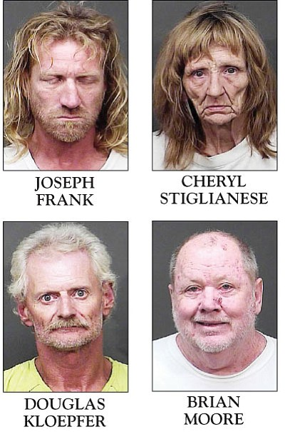 These four were among the 10 people picked up during a warrant sweep in Dolan Springs.