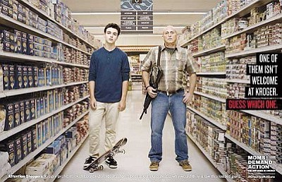 The campaign by Moms Demand Action criticizes openly carrying firearms in grocery stores.