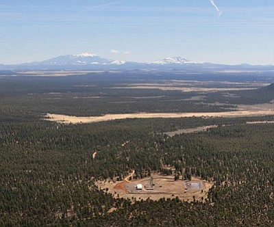 TARA ALATORRE/Cronkite News<br /><br /><!-- 1upcrlf2 -->The Canyon Mine in the Kaibab National Forest south of the Grand Canyon, opened in the 1980s, is shown from the air.<br /><br /><!-- 1upcrlf2 -->