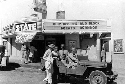 The State Theatre as it looked during World War II. Soldiers from the Kingman Airfield would frequently go to the theater, which was state-of-the-art when it opened in 1939. (MOHAVE MUSEUM OF HISTORY AND ARTS/Courtesy)