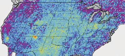 This map shows anomalous U.S. methane emissions (or how much the emissions differ from average background concentrations) for 2003 to 2009, as measured by the European Space Agency's SCIAMACHY instrument. Purple and dark blue areas are below average. Pale blue and green areas are close to normal or slightly elevated. Yellows and red indicate higher-than-normal anomalies, with more intense colors showing higher concentrations. The Four Corners area – the area where Arizona, Colorado, New Mexico and Utah meet – is the only red spot on the map. (NASA/JPL-Caltech/University of Michigan)