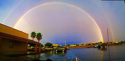 A photographer caught this double rainbow, seen from in front of Praise Chapel in Kingman. (CHARLES WILSON/Courtesy)