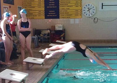 Courtesy<BR> The Kingman Academy girls swim team won their first meet in school history Thursday at the Del E. Webb Fitness Center.