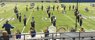 "The Kingman High School Marching Band performs at Northern Arizona University Band Day on Oct. 18. The band earned an ""Excellent"" rating, which allows it to compete this weekend for a spot at the Arizona state band championships."