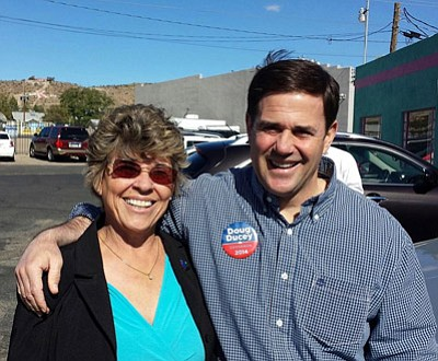 Mohave County District 4 Supervisor Jean Bishop stands with Arizona Governor-elect Doug Ducey outside Mr. D'z Diner in downtown Kingman on Monday. The Republicans held a spirited pep rally on the day before the election with Sen. John McCain, U.S. Rep. Paul Gosar, Sen. Jeff Flake and local candidates in attendance.<br /><br /><!-- 1upcrlf2 -->COURTESY<br /><br /><!-- 1upcrlf2 -->