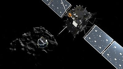 The image released by the European Space Agency ESA on Wednesday, Nov. 12, 2014 shows an artist rendering by the ATG medialab depicting lander Philae separating from Rosetta mother spaceship and descending to the surface of comet 67P/Churyumov-Gerasimenko. European Space Agency said Wednesday that the landing craft separated from Rosetta probe for descent to comet 67P. <i>(Illustration taken from ESA video screenshot)</i>
