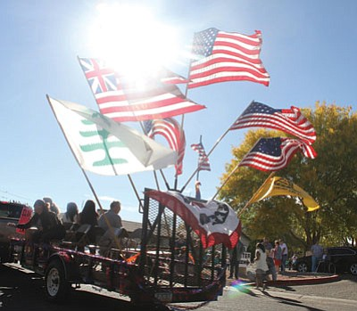 The Lingenfelter Center and The Gardens Rehab and Care Center held a Veterans Day parade Tuesday for residents, family and guests. (JC AMBERLYN/Miner)<br /><br /><!-- 1upcrlf2 -->