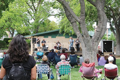 The stage at downtown's Metcalfe Park has proved to be inadequate as a venue for musical groups the Sounds of Kingman would like to attract. A push is on to fund complete reconstruction of the bandstand. (DOUG McMURDO/Miner)