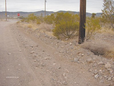 An example of one of the many roads in Golden Valley. Large rocks, washboarding and potholes are common problems that wreak havoc on cars. throughout the valley. (Courtesy)