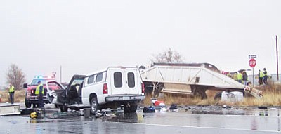 A white pickup truck carrying four high school students hit a tractor-trailer at approximately 8:26 a.m. Dec. 23 as the trailer was crossing Route 66 at Gordon. (Courtesy)