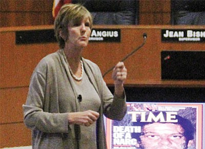 Elizabeth Kempshall, executive director of Arizona High Intensity Drug Trafficking Area, said the Sinaloa Cartel in Mexico is the oldest and most powerful drug cartel in the world. Drug cartels are growing their operations and present a real threat to Mohave County youth, she said. (JC AMBERLYN/Miner)