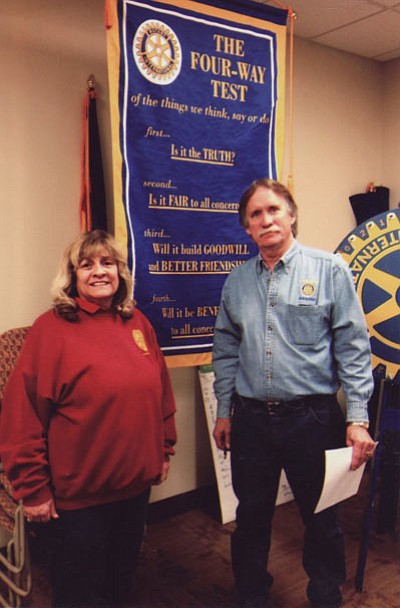 Women Making History: A reminder that the deadline for nomination forms for Women Making History is Friday. Pat Mullen-Lamb, pictured on left with Rotary Route 66 President Tom Clark, was the guest speaker for the Women Making History committee. Pat spoke about the WMH organization and the need to submit the forms. (Courtesy)