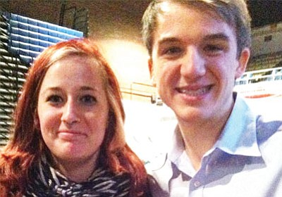 Jessica Lintel rubs shoulders with Jack Andraka, a 17-year-old winner of the 2012 Intel International Science and Engineering Fair. When he was 14 years old, Andraka came up with an idea to detect pancreatic cancer at an earlier stage, while it could still be treated. (Courtesy)