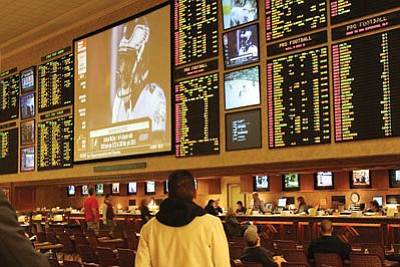 Sports books, like this one in Las Vegas, do booming business during the lead-up to the Super Bowl. (Baishampayan Ghos/Courtesy)