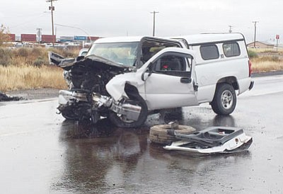 Four local students were injured in this Dec. 3 wreck on Route 66. (RYAN ABELLA/Miner)
