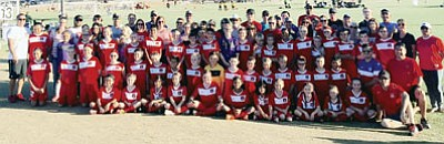 The Kinngman Soccer Club had approximately 50 families on hand to support the club's players during the Jan. 17-18 tournament in Phoenix. The club currently has four teams operating and is always looking to add more. (Courtesy)