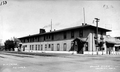 A photo of the Harvey House with the Hotel Beale in the background. A tunnel is thought to have run underneath the road between the two buildings. (MOHAVE MUSEUM OF HISTORY AND ARTS/Courtesy)