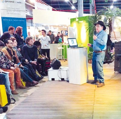 Courtesy<BR> Jim Hinckley, author of numerous books about Route 66, speaks on Kingman and the Mother Road at the Vakantiebeurs in Utrecht, The Netherlands, one of the largest tourism and holiday fairs in Europe.