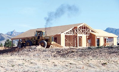 A house under construction near Southern Avenue Tuesday. (JC AMBERLYN/Miner)<br /><br /><!-- 1upcrlf2 -->
