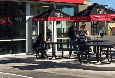 Some of the first customers try out Jimmy John's sandwich shop that opened recently at 3411 Stockton Hill Road. (CODY DAVIS/Miner)