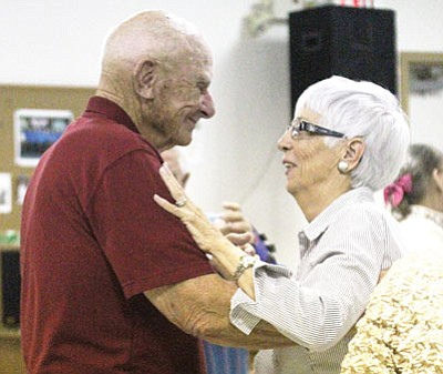 The Kathryn Heidenreich Adult Center holds numerous activities throughout the week. Here, Buddie and Jo Knutson dance during the Adult Jam Thursday. (JC AMBERLYN/Miner)