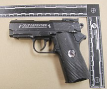A Kingman man was killed Wednesday night after he reportedly pointed this BB gun at a Kingman Police officer. The gun is an exact replica of a Colt semiautomatic pistol, according to law enforcement. (Courtesy)