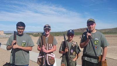 These four shooters from the Desert Bighorns club will be representing the Kingman club at the state ATA shoot in Tucson. From left to right are Wyatt Magers, Sarah Schrade, Boyce Privetts and Jack Cavender. (Courtesy)