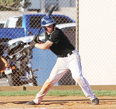 Kingman Academy's Caleb Boyett had two hits, two runs batted in and three runs scored during the Tigers' 11-1 win over Tonopah Valley Tuesday at Southside Park. He also earned the win. (JC AMBERLYN/Miner)