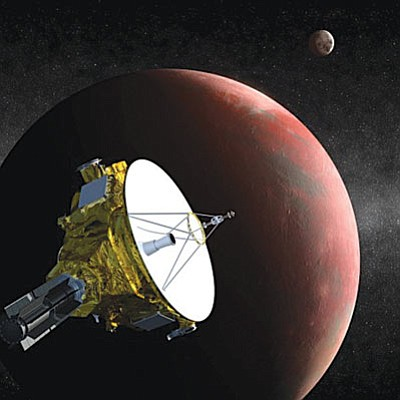 Artist's conception of the New Horizons spacecraft approaching Pluto and its largest moon, Charon, as it is scheduled to do in July. (NASA/Courtesy)